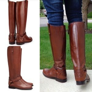 Tory Burch Almond Brown Derby Riding Boots sz 5.5